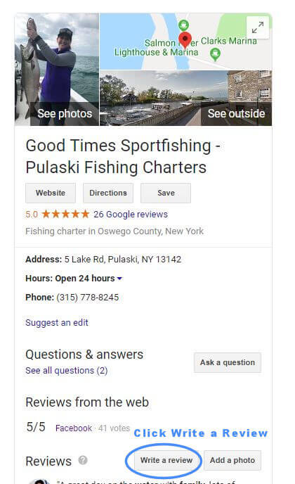 Good Times Sportfishing Google listing